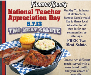 Famous dave's discount coupons