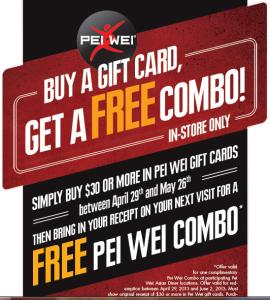 Pei Wei Bonus Deal ~ Buy $30 Gift Card, Get Free Combo Meal ...