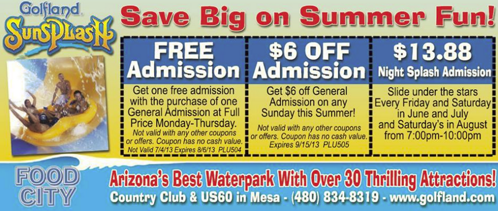 Roseville sunsplash discount coupons