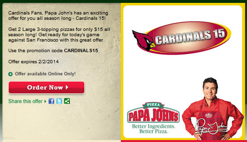 Just a reminder fans, anytime we win, it's 50% off Papa John's for the Phoenix area the next day! Use promo code.