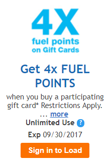 Load Digital Coupon for 4X Fuel Points on Gift Cards at Fry's ...