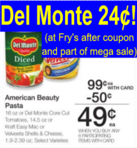 graphic about Frys Printable Coupons identify Del Monte Tomatoes Simply just 24¢ (at Frys w/ fresh printable