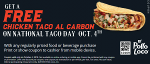 picture regarding El Pollo Loco Coupons Printable called Totally free Chook Taco at El Pollo Loco upon Thursday, 10/4 (and