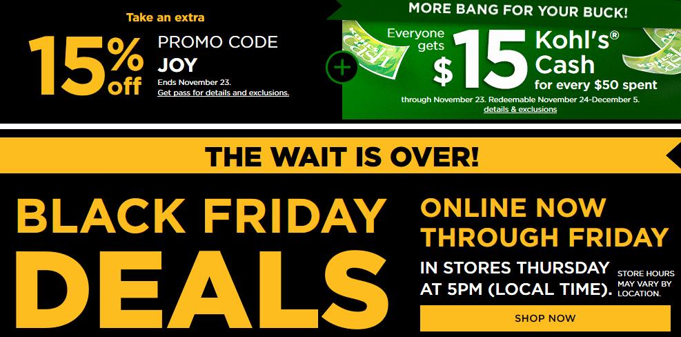 05e2a22f6e11 Kohl s Black Friday Deals Live Now + 15% Off +  15 Kohl s Cash ...