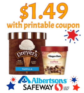 picture about Haagen Dazs Printable Coupon titled Dreyers or Haagen Dazs $1.49 at Safeway or Albertsons